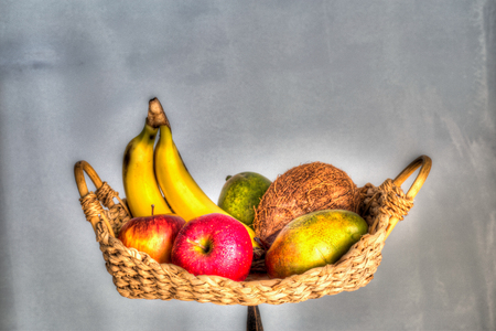painterly: A colorful fruit basket, HDR painterly effect Stock Photo
