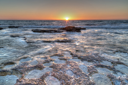 painterly: A clear sunset over the sandstone shoreline, Nahariya, HDR painterly
