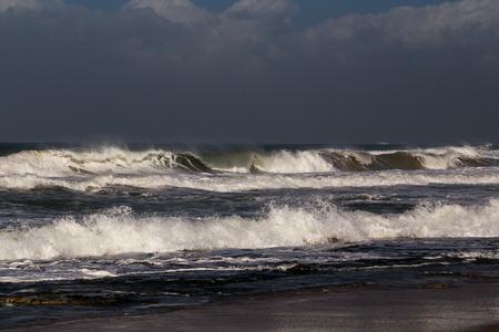 rough sea: Rough sea on a stormy winter day in Nahariya Beach Stock Photo