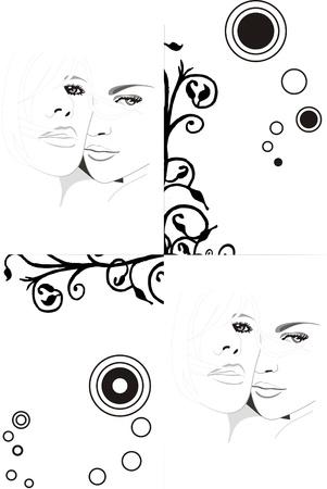 a background - two beautiful girls