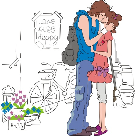 Couple kisses on a street Stock Vector - 16924874