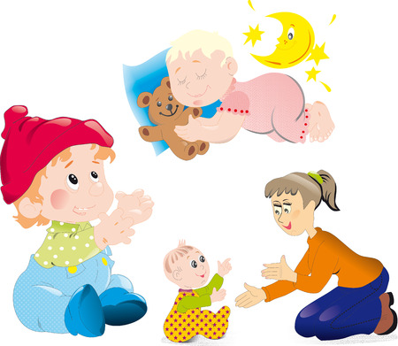 mather: Mather and baby Illustration