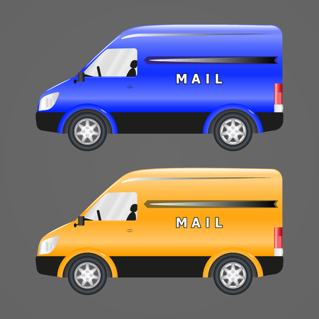 Vector image of postal vehicles. Blue and yellow post car. Illustration