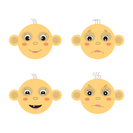 dissatisfaction: Vector baby face image. Emotions, joy, sadness, dissatisfaction, smile.
