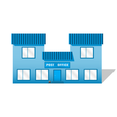 post office building: Vector image of the post office on a white background. Blue building.
