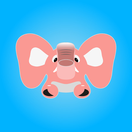 pink elephant: Vector image of a pink elephant on a blue background.