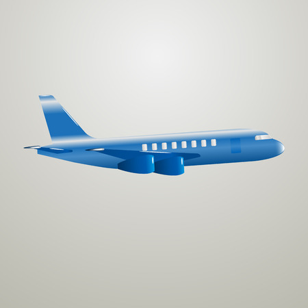 aeronautical: Vector image of a blue postal aircraft. Tourist plane.