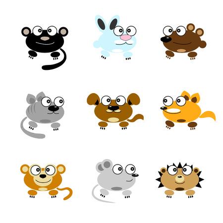 Vector afbeelding van cartoon grappige dieren. Panther, konijn, beer, kat, hond, aap, vos, muis, egel.