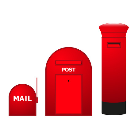 mailboxes: Vector image of three mailboxes. Illustration