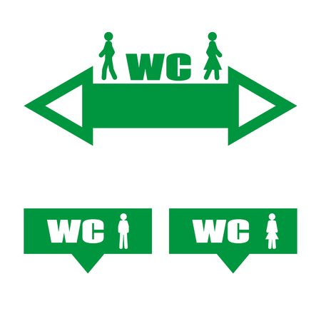privy: Vector image of a green plate WC. Pointer arrow WC.