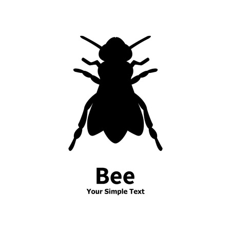 Vector illustration of a black bee. Isolated on white background. Midge, insect, stinging.
