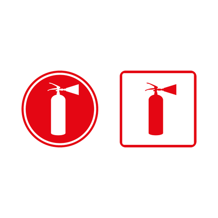 advocacy: Vector image of a red fire extinguisher in the frame. Icon, sign, sign, label.