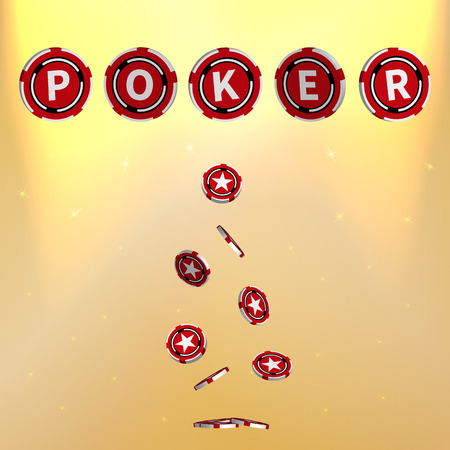 wagers: Vector illustration of poker. Poker Chips. Casino chips. Gold background.