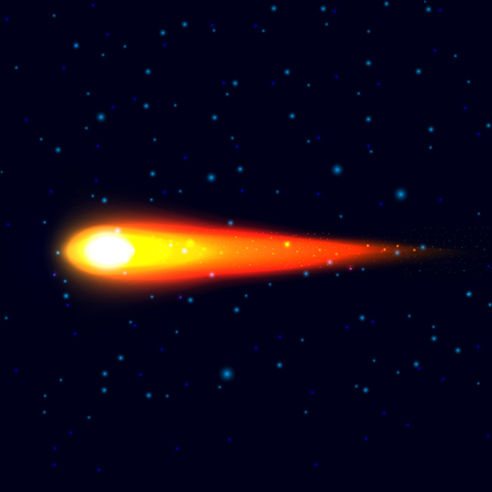 comet: Vector illustration of a comet, stars, the cosmos. Fiery comet. Illustration
