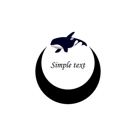 grampus: Vector illustration. Logo orca whale. Isolated white background. Grampus. Killer whale.