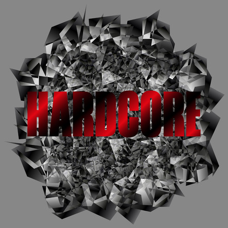 Vector ilustración de fondo Hardcore. Cuadro de indicadores Hardcore. Letrero.