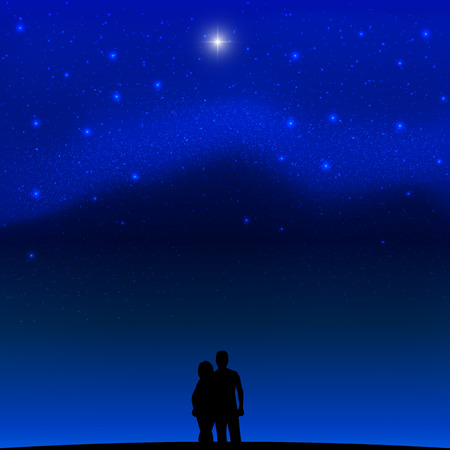 ベクトル少女と天の川の背景に男の画像。星と宇宙。