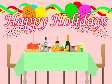 Vector illustratie van een feestelijke tafel en een vakantie. De sfeer van plezier en feest.