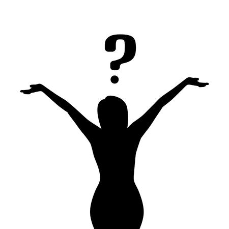 Vector illustration d'une fille avec une question. La femme ne savait pas quoi faire. Vecteurs