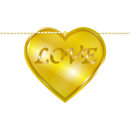 gold chain: Vector illustration of a pendant in the form of heart on a gold chain. Golden decoration.