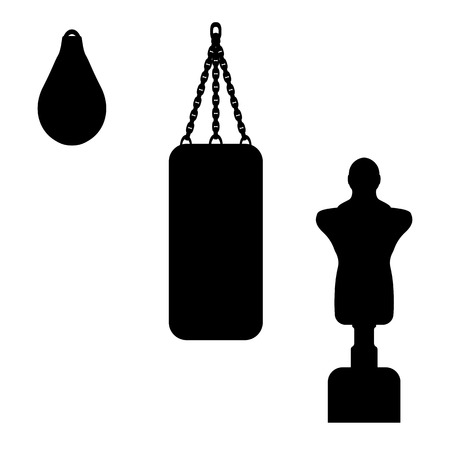 black shadows: Vector illustration of a punching bag. Isolated silhouette on a white background. Illustration