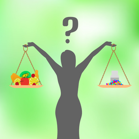 Vector illustration of a concept of healthy nutrition and diet. Pills, tablets or fruit. The woman decides what to eat. Girl with a question. Green background. Illustration