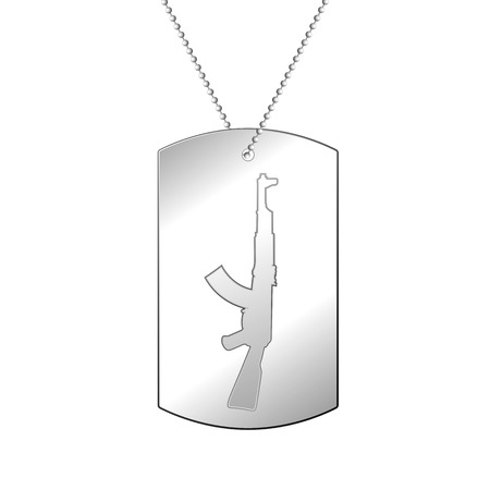 dogtag: Vector illustration of a soldiers silver medal. Soldier badge.