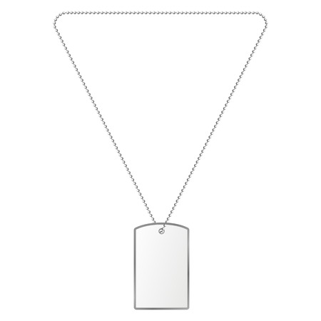 argent: Vector illustration of silver tiles on the chain. Decoration, silver pendant. Illustration