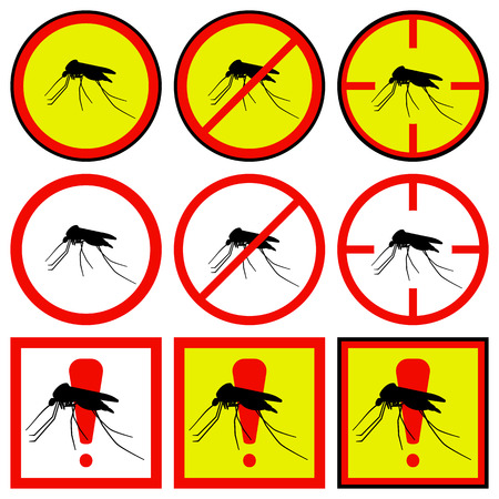 sponger: Vector illustration of yellow, red icons with mosquito.