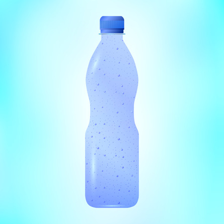 breezy: Vector illustration of sparkling mineral water in a plastic bottle. Soda water.