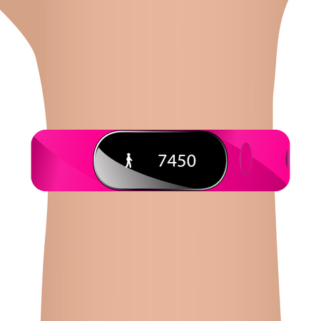 strap: Vector illustration of fitness bracelet and hand. Pink strap watch tracker for sports.