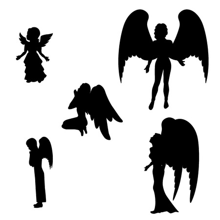guardian angel: Ilustración vectorial de una silueta aislado de un icono del ángel negro sobre un fondo blanco. Niña, niño y mujer ángeles. Vectores