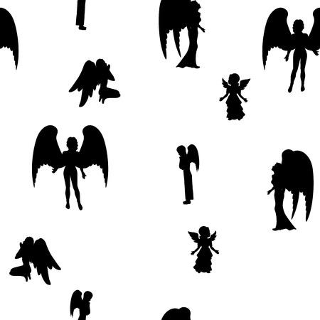 Vector Illustration eines isolierten Silhouette eines schwarzen Engel auf einem weißen Hintergrund. Mädchen, Jungen und Frau Engel. Standard-Bild - 55512660