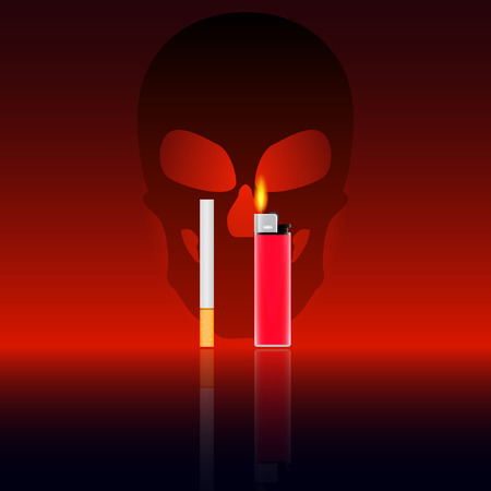 open flame: Vector illustration of the harm of smoking. Cigarette and lighter on a background of a skull. Death from smoking. Illustration