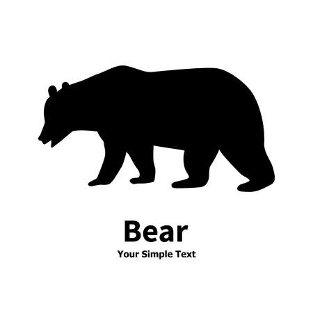 Vector l'illustrazione di un animale predatore selvatico. Isolati silhouette orso su uno sfondo bianco.