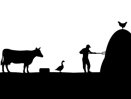 herder: Vector illustration of a pet, farmer, cattleman. Isolated silhouette on a white background.