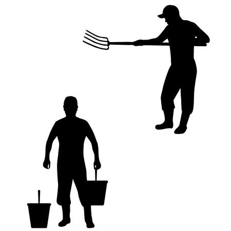 Vektor-Illustration eines Bauern, Viehzüchter. Isolierte Silhouette auf einem weißen Hintergrund. Mann mit Heugabel und Eimer.