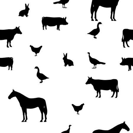 Vector illustration seamless pattern pets. Isolated silhouette of livestock, farm animals on a white background.