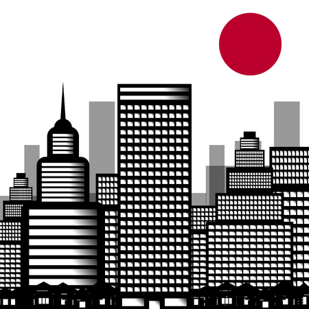 edifice: Vector illustration of city sushi, town. Background of the city with the sun in the Japanese style. Illustration