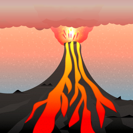 ash cloud: Vector illustration of an active volcano. The explosion of magma, lava and volcano. A cloud of poisonous gas and ash.