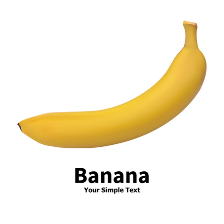 greengrocery: Vector illustration of realistic banana fruit isolated on a white background with an inscription. Illustration