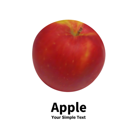 Vector illustration of an isolated realistic fruit red apple on a white background with an inscription. Ilustração