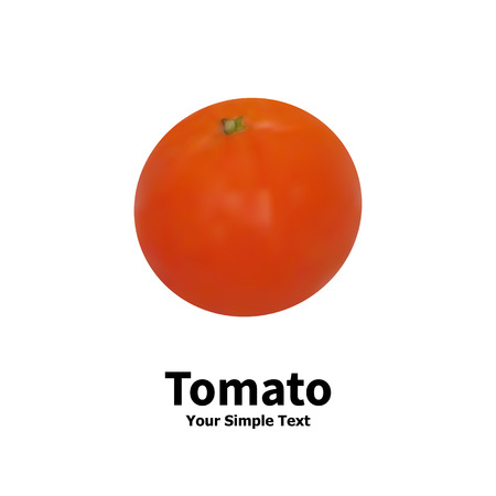 secluded: Vector illustration of realistic vegetable tomato on white background with the inscription.