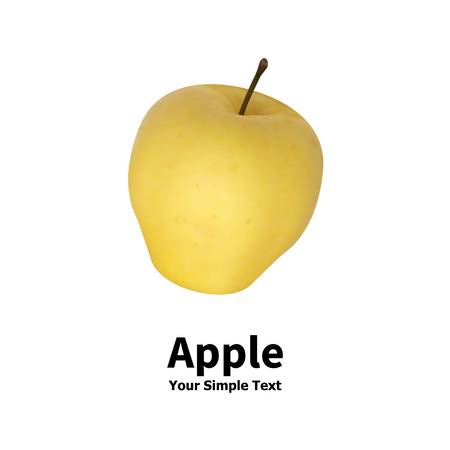 secluded: Vector illustration of an isolated realistic yellow apple fruit on a white background with an inscription.