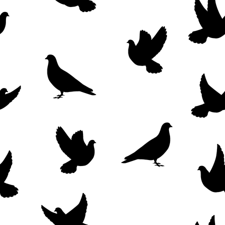 pigeons: Vector illustration seamless pattern isolated silhouette of the bird dove on a white background. Flying pigeons.