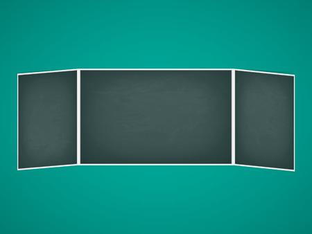 green board: Vector illustration of school chalkboard folding. Green board.