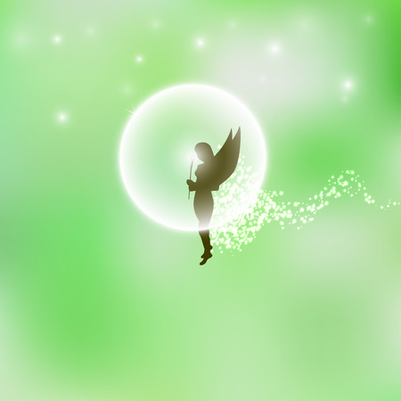 verdant: Vector illustration of a forest fairy or elf. Green background. Magic flower. Magic dust. Illustration