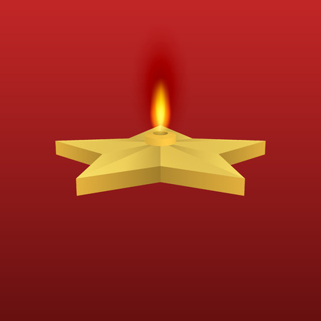 everlasting: Vector illustration of a gold star with fire. Eternal flame.