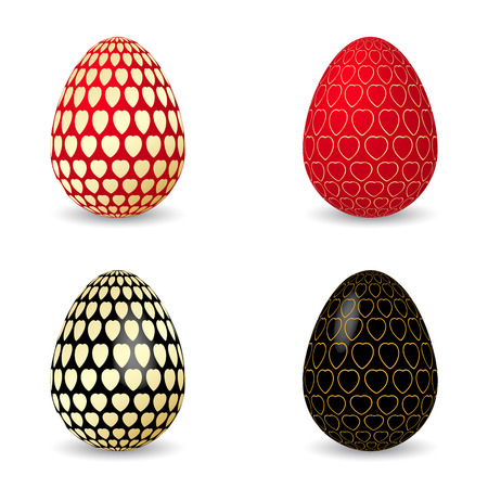 murky: Vector illustration of black and red egg with golden hearts. Easter eggs. Illustration