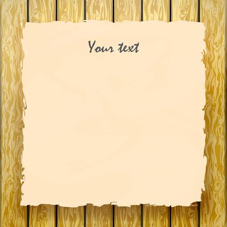 Vector illustration du vieux papier jaune avec un signe sur une clôture en bois. Publicité